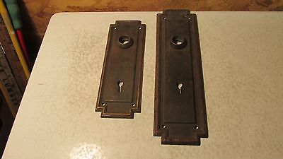 2 Antique Brass Door Plates- In & Out