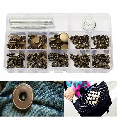 30 Sets 15mm Antique Brass Snap Fasteners Popper Press Stud Button Leather Kit