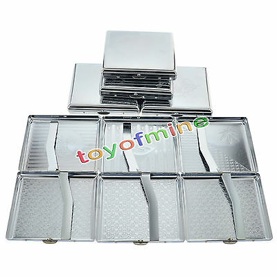 New Etched Silver Metal Cigarette Case Box Holder Holds 20 Cigarettes