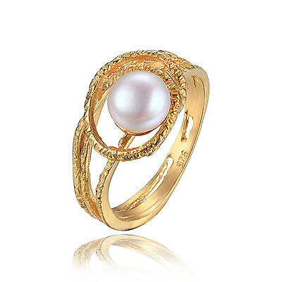 JewelryPalace Natural Fresh Water Pearl Ring 925 Silver 18k Gold Plated Women