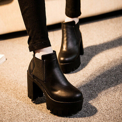 c55281677d76 Fashion Women Chunky Platform Ankle Boots Heel High Chelsea Slip On Bootie  Shoes