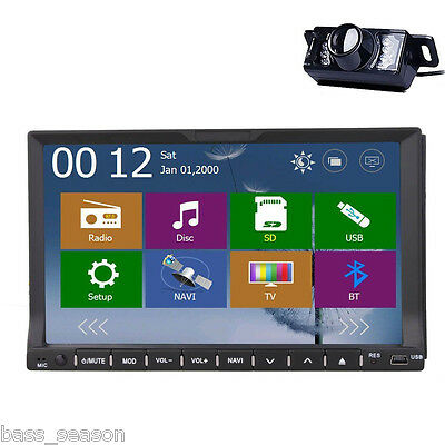 2 Din 7'' LCD Car DVD Radio Stereo Player with GPS Navi BT Bluetooth Ipod+Camera