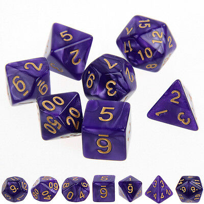 New Set of 7 Digital Multifaceted Dice for Entertainment Game Toys Purple Color
