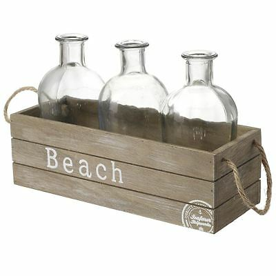 Heaven Sends 3 Clear Glass Bottles In Wood Basket Crate Beach Theme