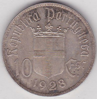 1928 Portugal Silver Ten Escudos In Extremely Fine Condition
