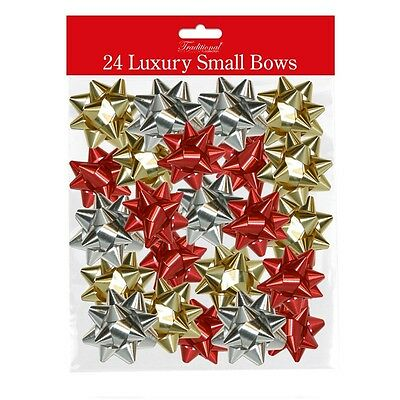 Pack Of 24 Small Mini Luxury Foil Metallic Gift Bows - Gold, Red & Silver