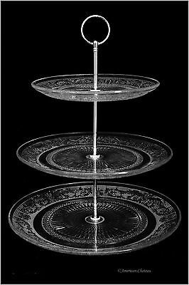 "3-Tier Depression Glass 14"" Pastry Cupcake Cake Dessert Stand"