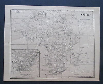 Antique Paper Map 1901  Black & White AFRICA