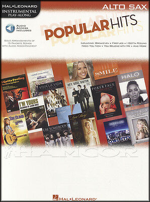 Popular Hits Instrumental Play-Along Alto Sax Saxophone Pop Music Book & Audio