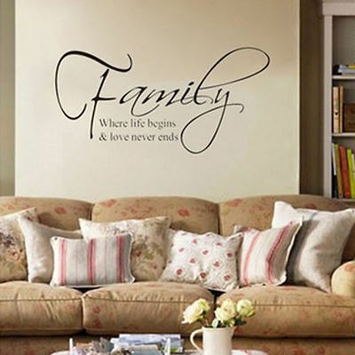 Family Wall Sticker Quote Words Removable DIY Decal Art Elegant Home Decor UK