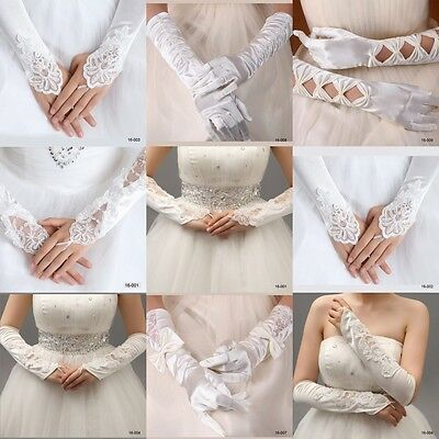 White/Ivory Bride Wedding Fingerless Gloves Elegant Floral Satin Lace Fancy Prom