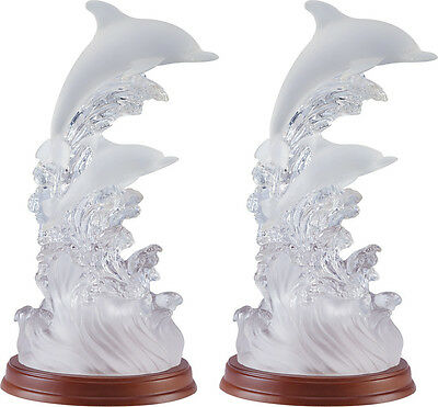 Pair of (2) Jumping Dolphin TABLE LAMP Light DORM BABY BEDROOM FABRIC SHADE Desk