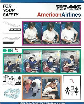 Safety Card - American - B727 223   (S3673)