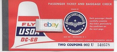 Usoa Air Lines United States Overseas Airlines Dc-6B Ticket Coupons Unused 1950S
