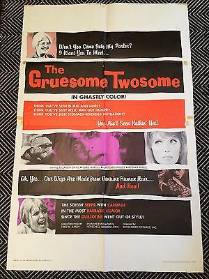 THE GRUESOME TWOSOME Original One-Sheet Poster 1967 H.G. Lewis  VG-