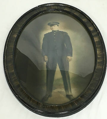 Vintage Military Soldiers Oval Bubble Glass Portrait