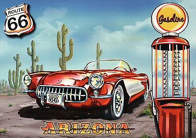 Arizona Route 66, Road Chicago to Los Angeles Oldtimer Car Cactus Gas - Postcard
