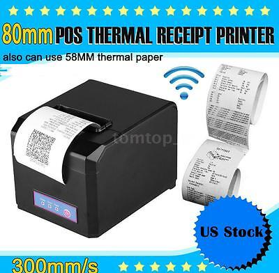 80mm & 58mm POS Dot Receipt Paper Barcode Thermal Printer USB 300mm/s US Stock
