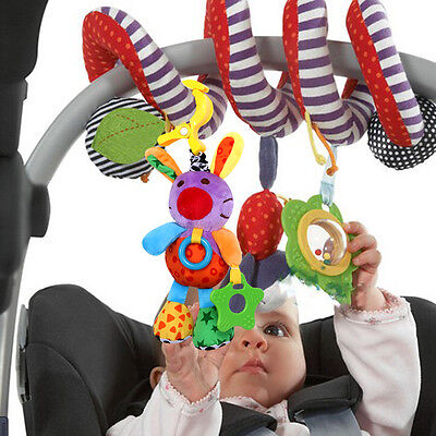 Baby Rattle Hand Bell Crib Bed Cot Stroller Hanging Toy Plush Rabbit Musical Toy
