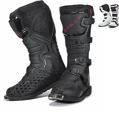 Black MX Enigma CE Approved Motocross Boots Off Road Adventure Pit Bike Boot