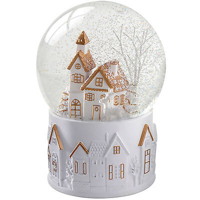 13cm Snow Globe with White and Gold House Christmas Decoration