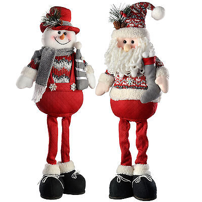 51cm Red and Grey Standing Santa Snowman Christmas Decorations, Set Of 2