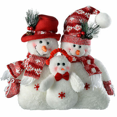 30cm Red and White Snowman Family Christmas Decorations