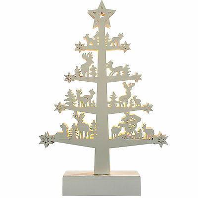 25cm Pre-Lit Wooden Reindeer Tree Table Christmas Decoration, White
