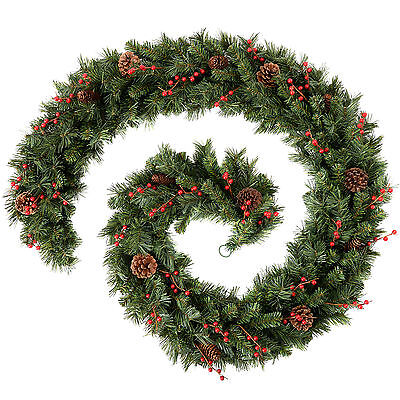 9ft Extra Thick Mixed Pine Garland with Cones & Berries Christmas Decoration