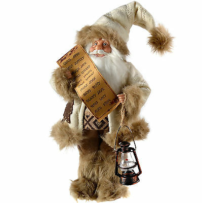 31cm Standing Santa in Fur Outfit Christmas Decoration, White / Brown