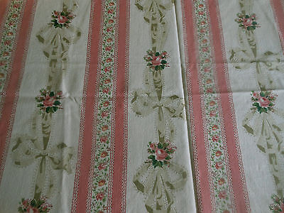 Vintage French Ribbons Roses Bows Stripe Cotton Fabric ~ Rose Pink Sage