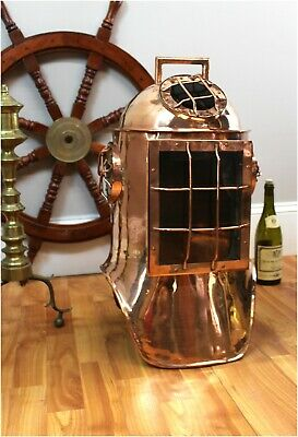 Antique Replica Life Size Solid Copper Divers Helmet Old Nautical Scuba Copper