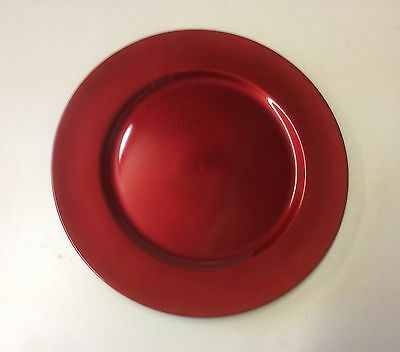 Set x6 Red 33cm Charger Plates Christmas Decoration Table Settings