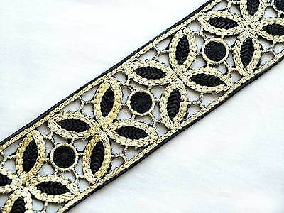 """Wide Embroidered  Iron-On Trim 1½ Yards. Black & Gold  2½"""" Wide"""
