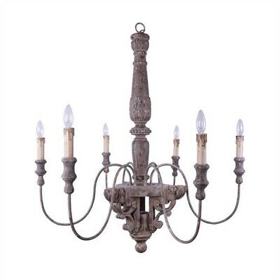 Big Chandelier Light Fixture w 6 arms in Aged Old Fashioned Wood and Metal