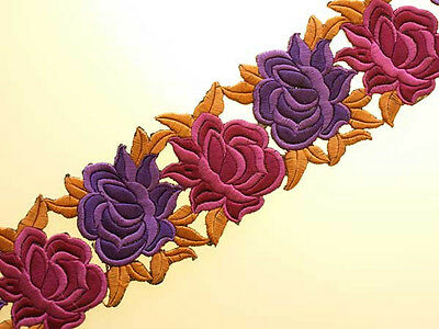 """Embroidered Iron-On Trim 3 Yards Shades of Purple & Fuchsia 3"""" Wide"""
