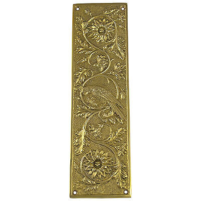 Antique Push Plate Parrot Bird Motif Door Hardware, Vintage Replica