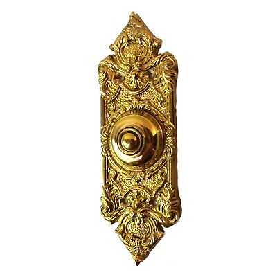 "Antique Replica Polished Shiny Brass Door Bell Button Victorian Style 7.5"" Tall"