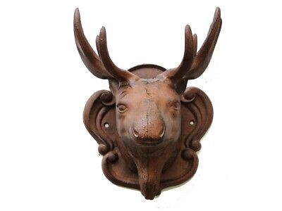Rusty Wall Mounted Moose Head Cast Iron Hunting Lodge Man Cave
