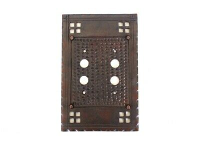 Arts and Crafts Double Two Gang Push Button Switch Plate Aged Bronze Brass