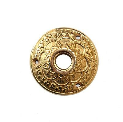 Brass Rosette Round Door plate with floral accent Vintage Style