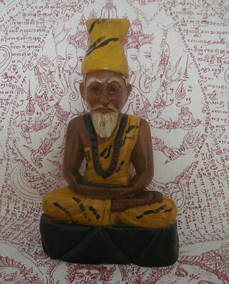 Blessed Ruesi Hermit statue , hand-carved - Wat BangPhra