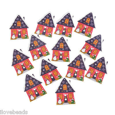 50PCs Cardmaking Red Christmas House Wood Button 2-Holes Scrapbook Craft DIY