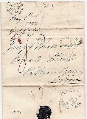 * 1822 Free? Letter Chichester Circ Mileage Postmark Red Inspector Star   London