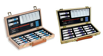 Reeves Acrylic and Water Colour Wooden Box Paint Artist Sets