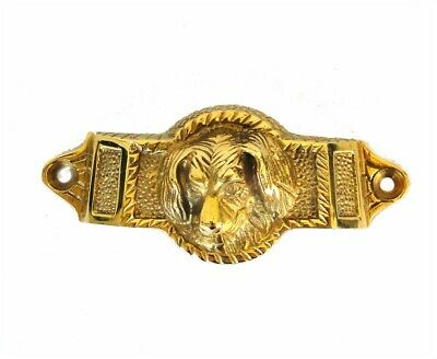SOLID Cast Brass Dog Bin Pull Antique Vintage Cabinet Hardware replica