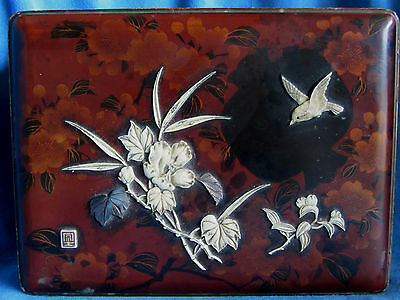 Antique Meiji Signed Japanese Chinese Shibayama Lacquer Bird Mother of Pearl BOX