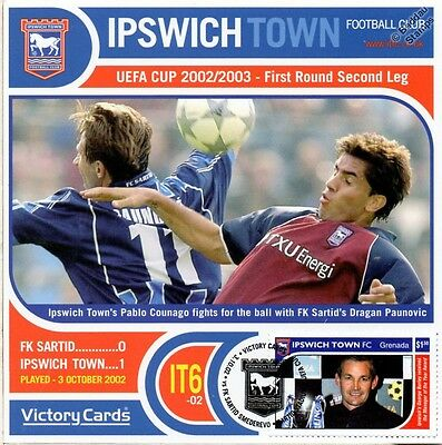 IPSWICH TOWN 2002-03 FK Sartid (Pablo Counago) Football Stamp Victory Card #206