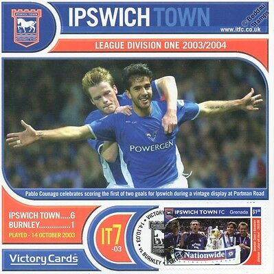 IPSWICH TOWN 2003-04 Burnley (Pablo Counago) Football Stamp Victory Card #307