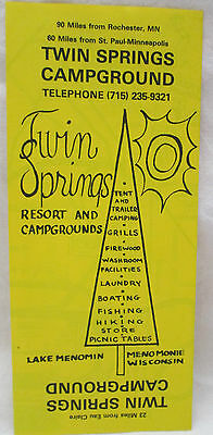 Vintage Twin Springs Campground Menomonie Wisconsin Brochure Reservation Prices
